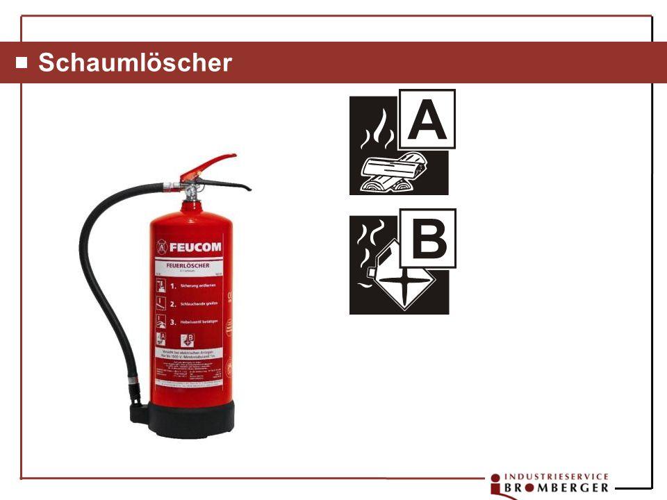 Schaumlöscher[A] Löscht brennbare feste Stoffe (außer Metalle), z.B. Holz, Kohle, Papier, Stroh, Textilien usw.
